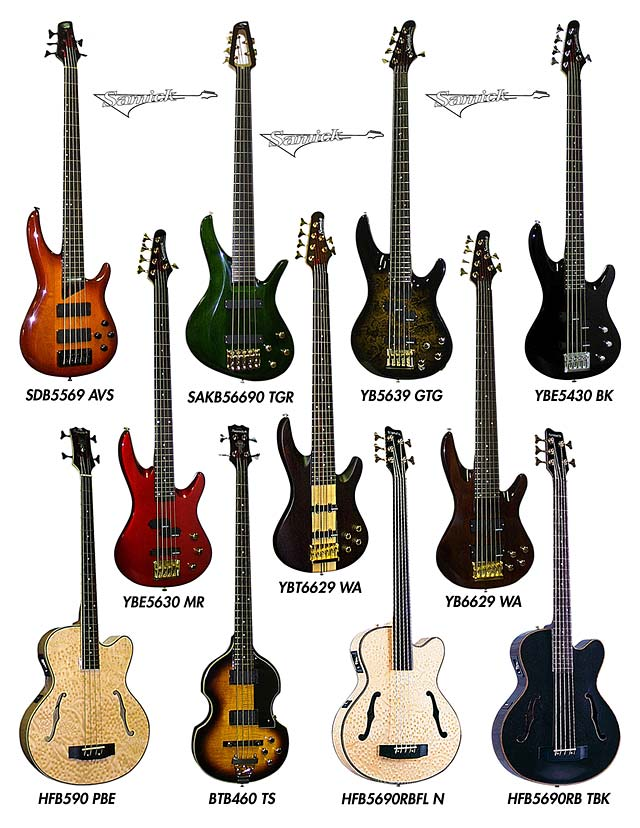 SAMICK HIGH TECH 5 STRING 6 AND ACOUSTIC ELECTRIC BASS GUITARS